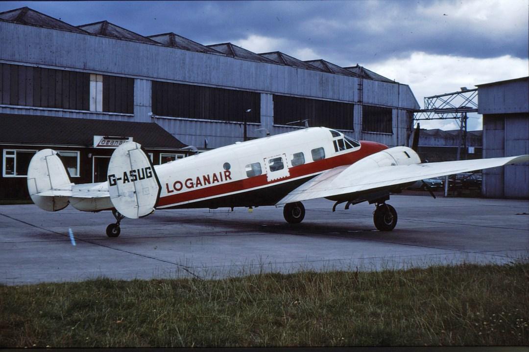 B4. G-ASUG, Beech 18, GLA, 1974 (S G Sim)