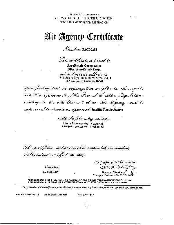 faa certificate ind certifications recent corp