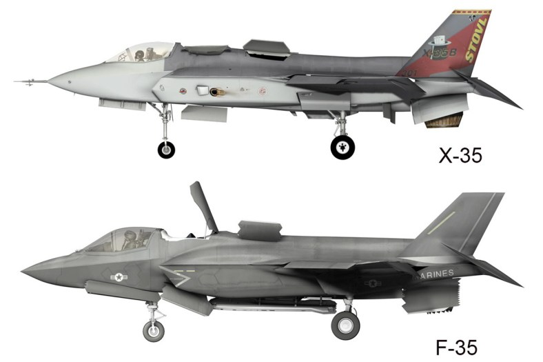 © Lockheed Martin - Released • Lockheed Martin X-35 & F-35 Differences - Side