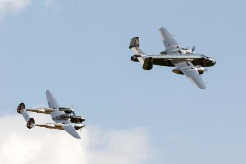 © Adam Duffield • Lockheed P-38 Lightning N25Y & North American B-25 Mitchell N6123C • Flying Legends 2015
