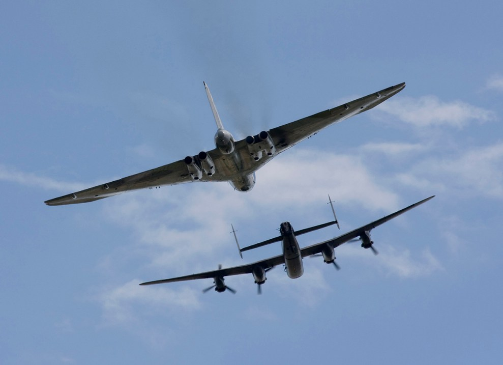 © Jim Simpson - Lancaster and Vulcan formation taken at Waddington in July 2008, its first official display - Vulcan XH558 Image Wall
