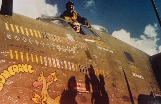 """© Roger Freeman Collection / http://www.americanairmuseum.com - Airmen of the 93rd Bomb Group in the cockpit of their B-24 Liberator nicknamed """"Boomerang"""" - 93rd Bomb Group Museum"""