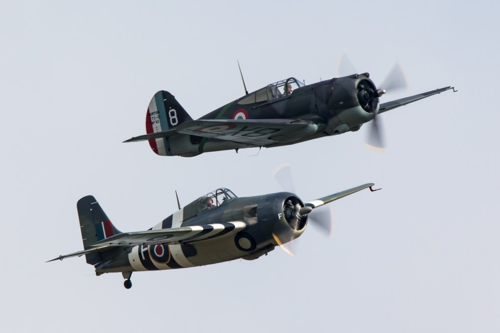 © Adam Duffield - Grumman FM-2 Wildcat G-RUMW and Curtiss Hawk 75 G-CCVH - Duxford American Air Show 2016