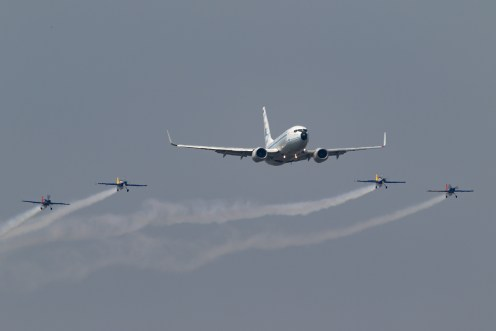 © Michael Lovering - TAROM 737-700 in formation with the Hawks of Romania - Bucharest International Air Show 2016