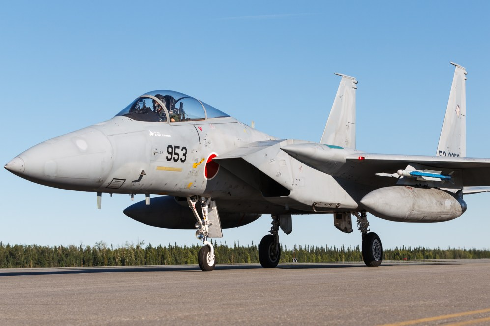 © Mark McGrath - An F15J (52-8953) from 201 Hikotai JASDF, taxies out during Red Flag Alaska 17-2 - Red Flag Alaska 17-2