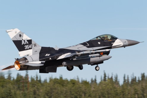 © Mark McGrath - F-16C-30-CF (86-0314) of the 18th Aggressor Squadron in the new Arctic Splinter camouflage during Red Flag Alaska 17-2 - Red Flag Alaska 17-2