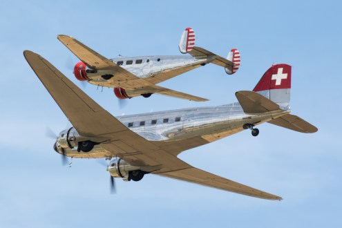 © Adam Duffield - DC-3 and Beechcraft 18 of the Classic Formation - Flying Legends 2017