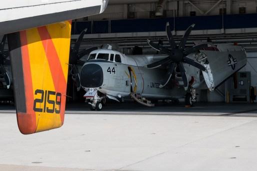 © Duncan Monk - VRC40 C-2A tucked inside the maintenance hangar - VRC-40 'Rawhides' – C-2A Greyhound
