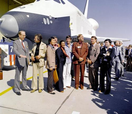Space Shuttle Enterprise and Star Trek tv cast members