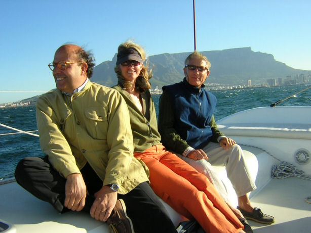 Francesco Lami, Flo Tarjan and Vanni Gori enjoying a 20+ knot ride on the Scape Cat, off Cape Town.