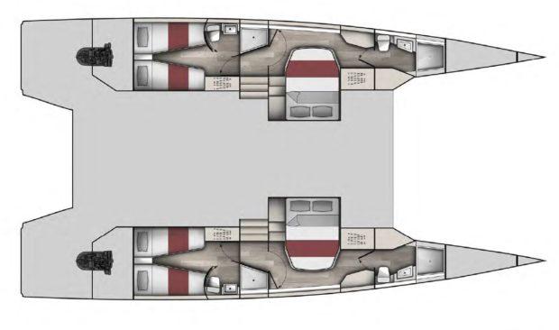 McConaghy multihulls MC50 catamaran 4 cabin Layout