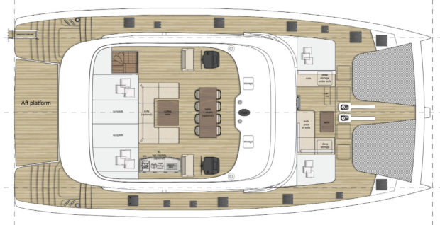 Sunreef 70 catamaran Flybridge Layout
