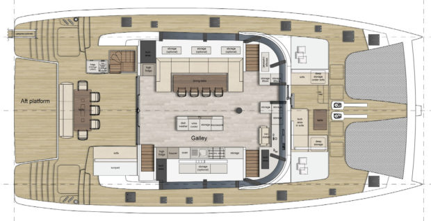 Sunreef 70 catamaran Galley UpLayout