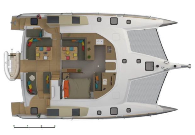 Neel 47 trimaran Layout Main deck