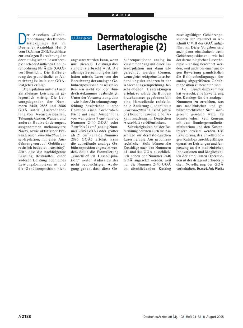 Dermatologische Lasertherapie 2