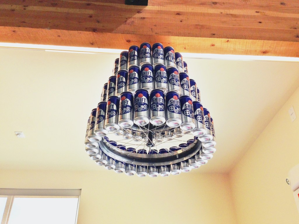 Chandelier made out of beer cans at New Belgium Brewery in Fort Collins, CO (Source: http://hookedonhops.com/wp-content/uploads/2013/03/20130329-160542.jpg)