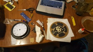 My workstation. Shown is the chainring and mount without the clock components installed