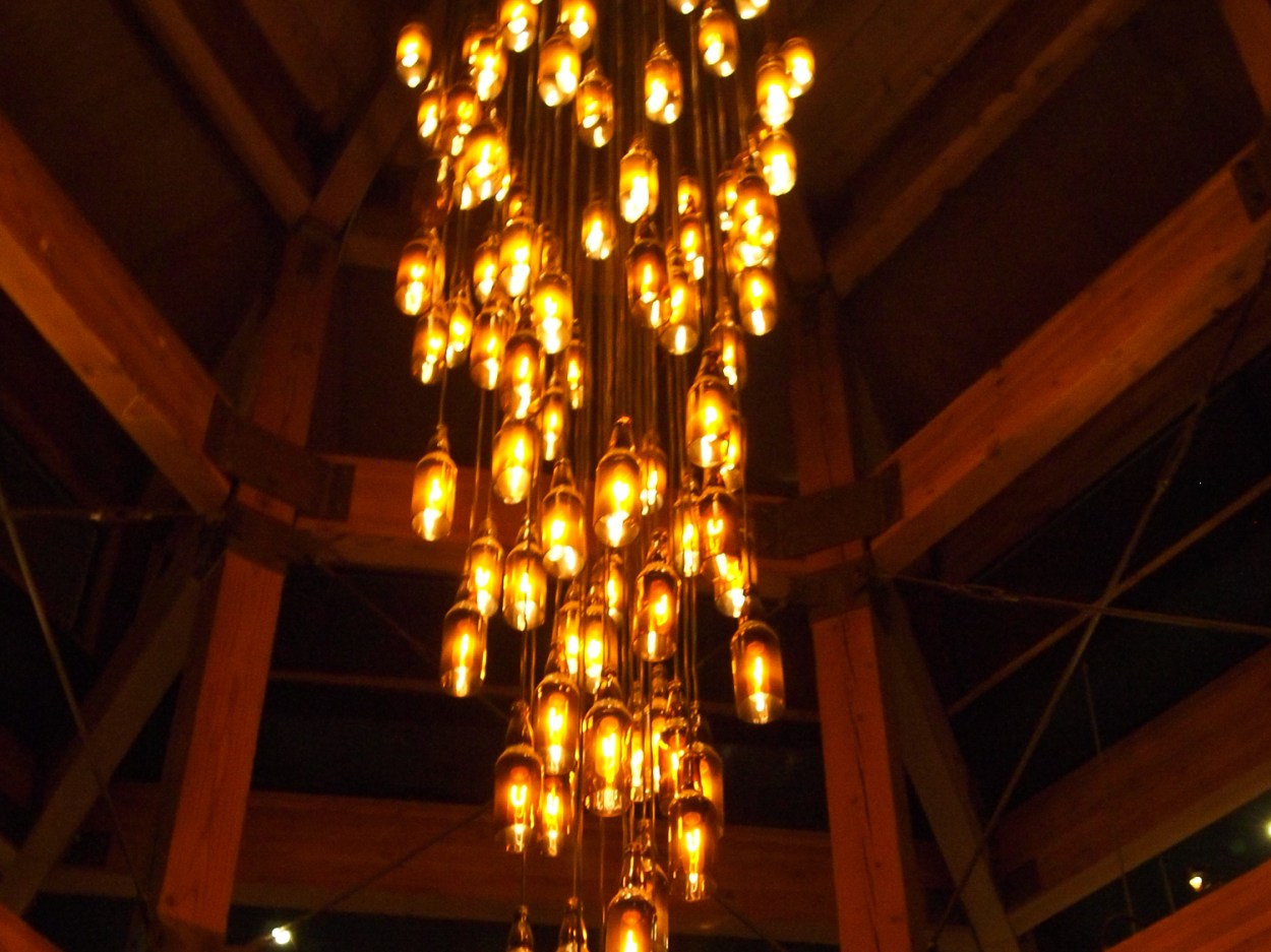 Figure 2: A chandelier at Hillcrest Brewing Company built using upcycled bottles.
