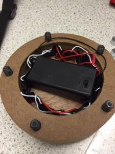 Assembled electrics in coaster.