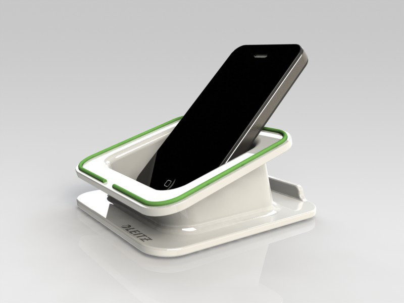 Desk Stand: example of my Solidworks modeling and renderings (iPhone imported from CADGRAB)
