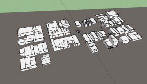 Here I have furthered my process by turning my buildings white and simplifying the buildings down, preparing to be 3D printed. I will begin drawing the base layer to be etched on a piece of acrylic.