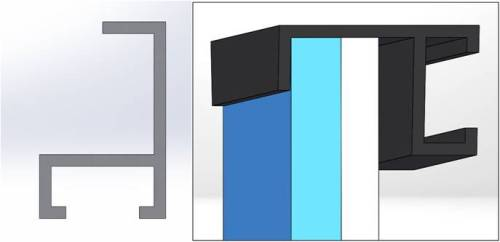 Figure 7: Left – First frame profile. Right – View of the inserted glass pane and foam core panel
