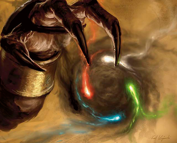 A claw holds five swirling colored orbs