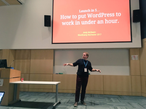Andy McIlwain speaks at WordCamp Rochester 2017. Photo: Allison Smith