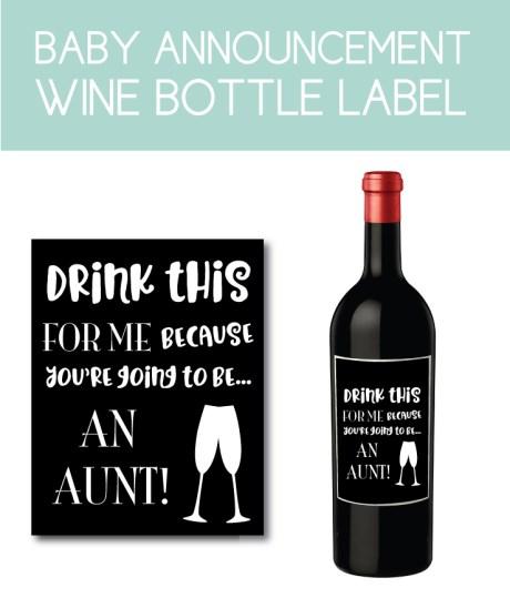 Baby Announcement Wine Bottle Label