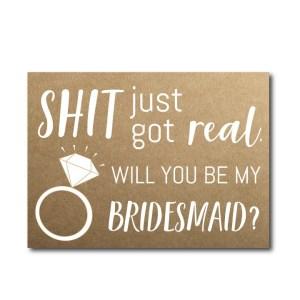 Rustic Funny Bridesmaid Ask Card
