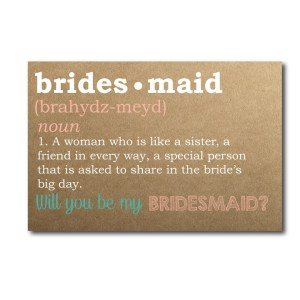 Bridesmaid Defined Rustic Ask Card