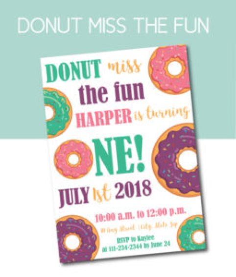 Donut Miss the Fun Party Invite