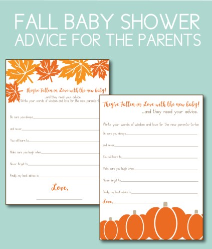 Fall Themed Advice Cards for New Parents