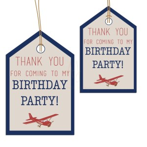 airplane themed party favor tags
