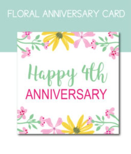 Floral Card for 4th Anniversary
