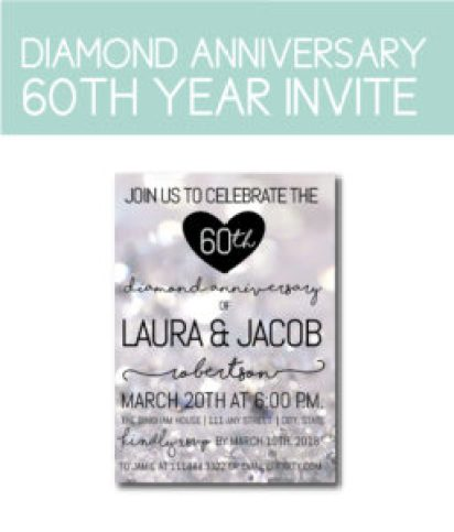 Diamond Anniversary 60th Party Invite