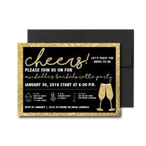 Black and Gold Sparkle Bachelorette Invite