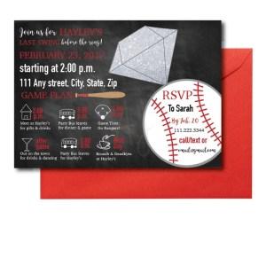 Chalkboard Baseball Bachelorette Invite