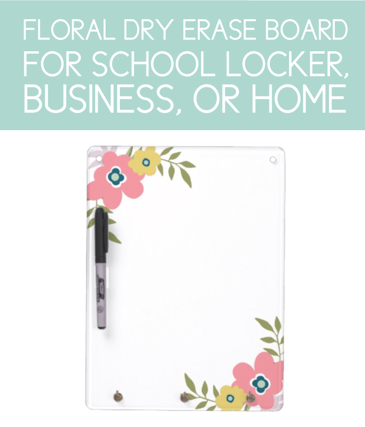Floral Dry Erase Board for school locker