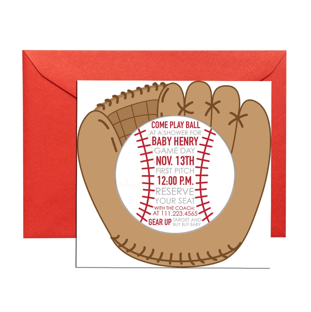 Baseball Themed Invitation for Baby Shower + Envelopes -