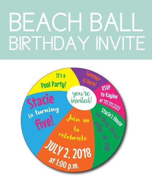Beach Ball Birthday Invite for Pool Party Ideas