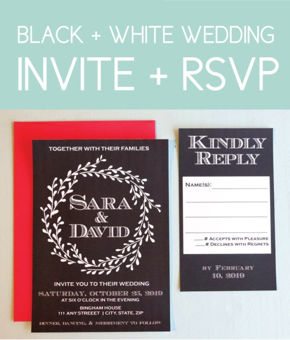 Black & White Invite with Floral Accents