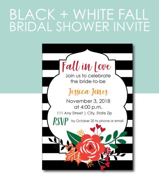 Striped Fall In Love Shower Invite