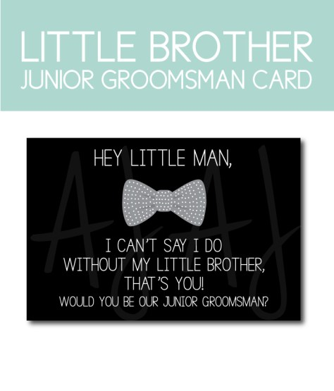 Little Brother Card for the Junior Groomsman Ask