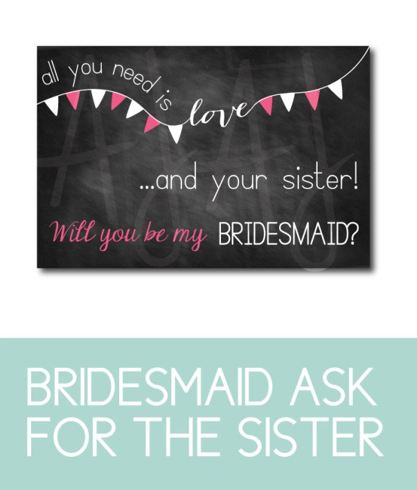 Sister of the Bride Card for the bridal party gifts