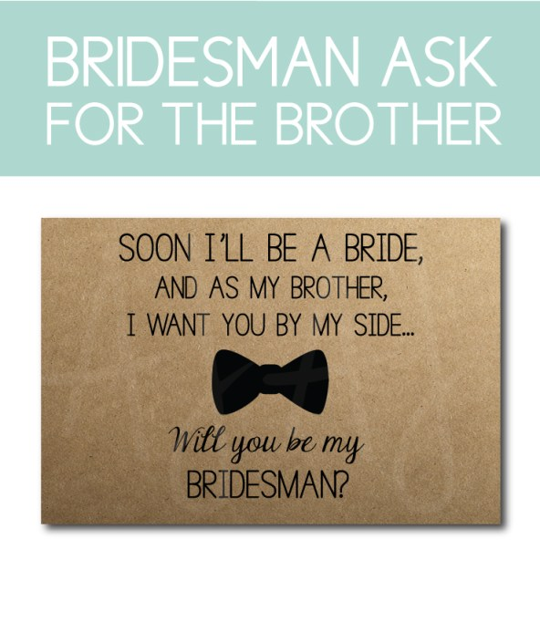 Brother Bridesman Ask Card for the bridal party gifts