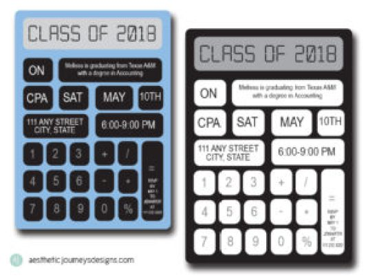 Calculator Themed Graduation Invites