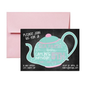 chalkboard tea party themed invite