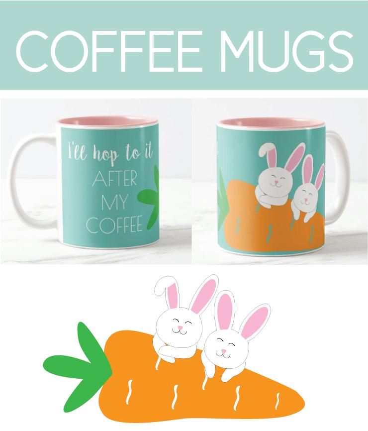Coffee Mugs with Easter Bunnies