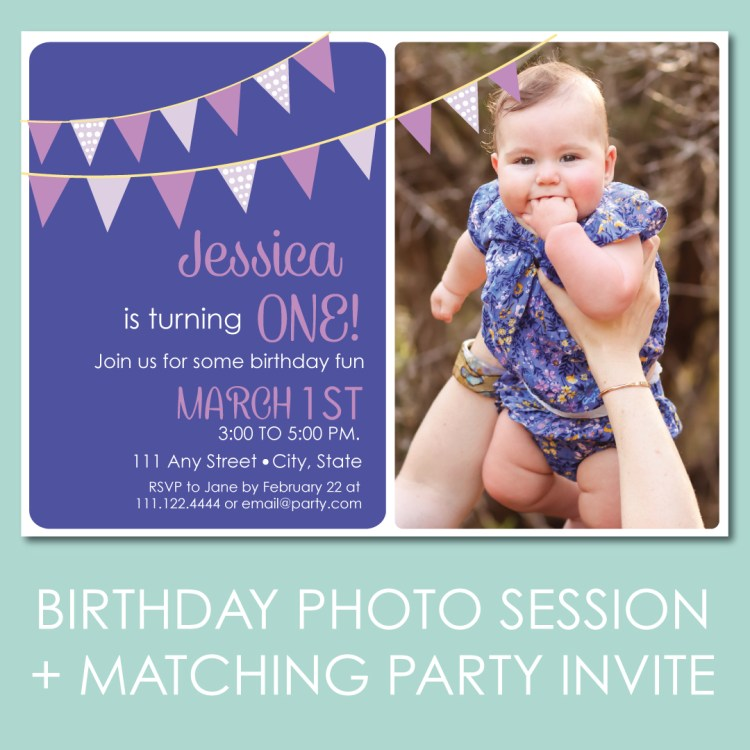 Plan a Birthday Family Photo Session and get a matching invite